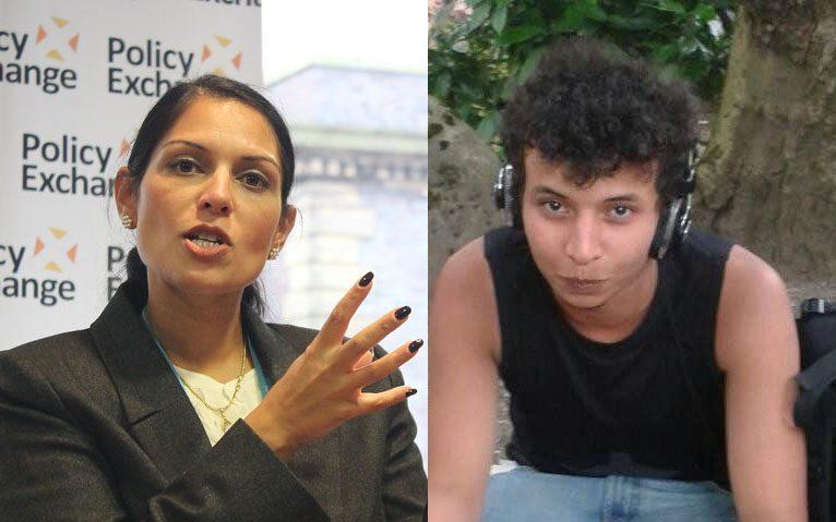 Minister spraw wewnętrznych Priti Patel i Khariri Saadallah, nożownik z Reading. (zdj. Policy Exchange Flickr i FB)